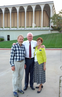 Claron Twitchell with Elder Douglas and Sister Nanette Brenchley, with the LDS Visitors Center Independence, Missouri